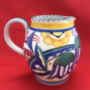 Early Poole Pottery Jug, Red Clay, TY Pattern, Painter Marjorie Batt c1925